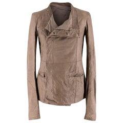 Rick Owens Taupe Leather Jacket - Size US 6