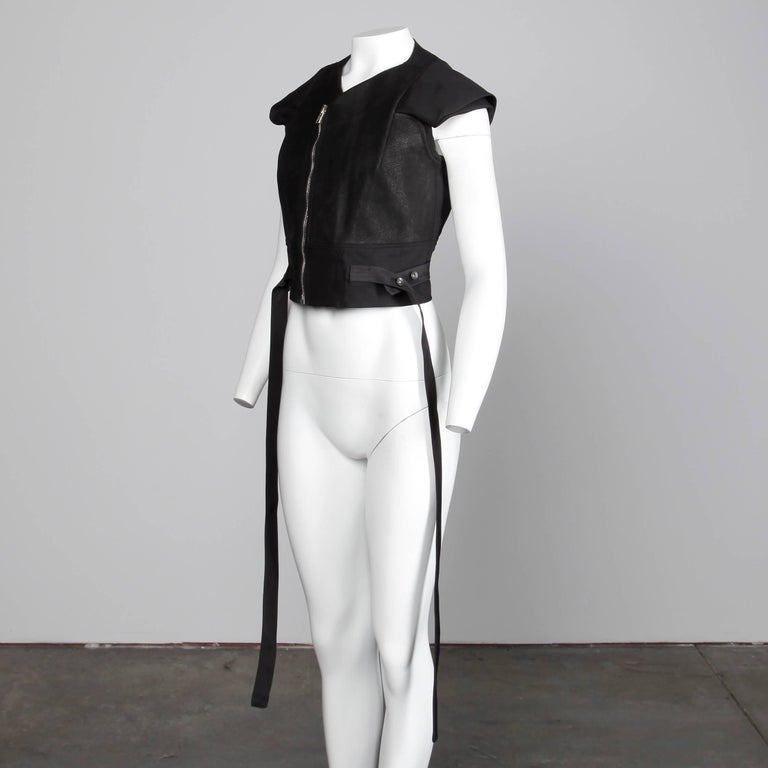 Rick Owens Unworn with Tags S/S 2015 Avant Garde Black Leather Jacket or Vest In New Condition For Sale In Sparks, NV