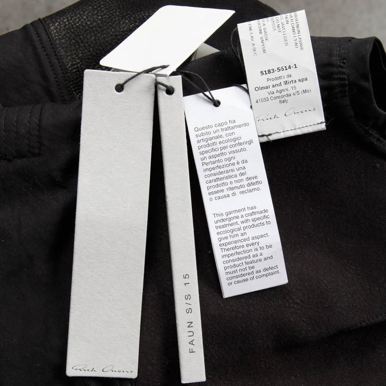 Rick Owens Unworn with Tags S/S 2015 Avant Garde Black Leather Jacket or Vest For Sale 5