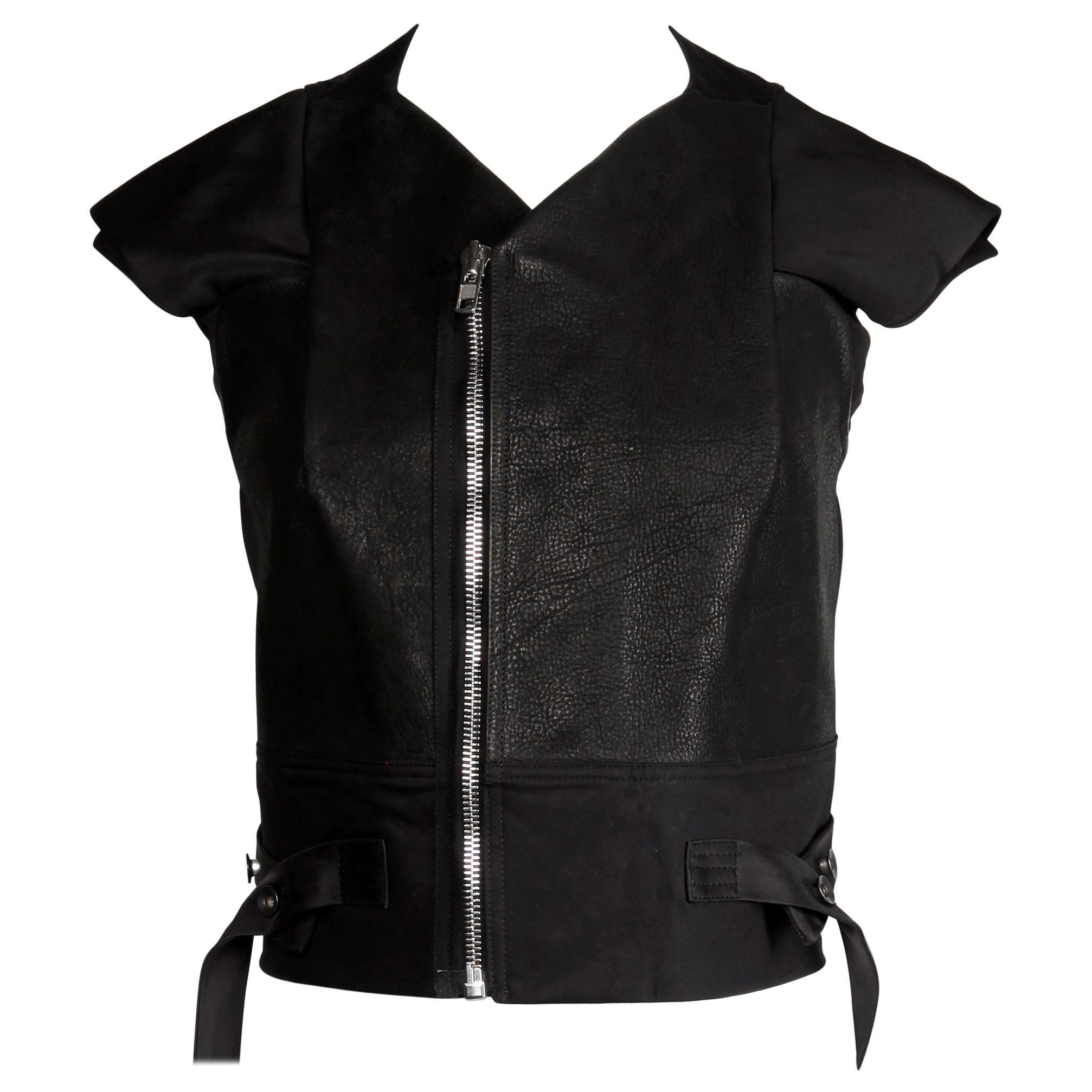 Rick Owens Unworn with Tags S/S 2015 Avant Garde Black Leather Jacket or Vest