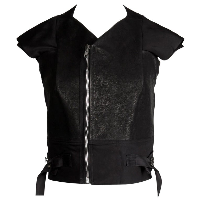 Rick Owens Unworn with Tags S/S 2015 Avant Garde Black Leather Jacket or Vest For Sale