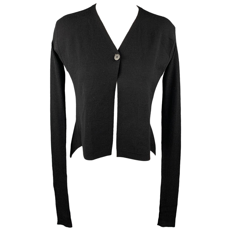 RICK OWENS VICIOUS S/S 14 Size M Black Knitted Virgin Wool Asymmetrical Cardigan