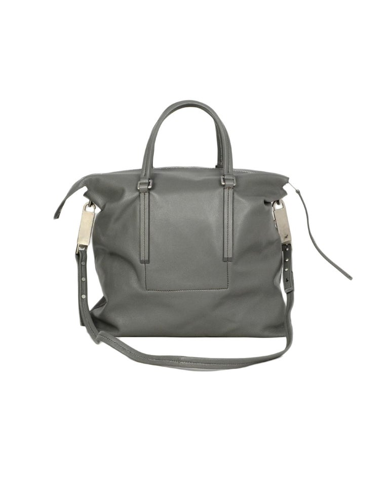 Rick Owens Walrus Grey Leather Tote Bag rt $1,495 In Excellent Condition For Sale In New York, NY