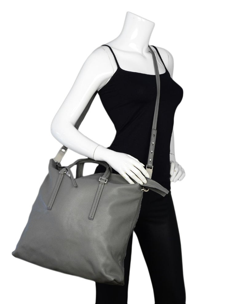 Gray Rick Owens Walrus Grey Leather Tote Bag rt $1,495 For Sale