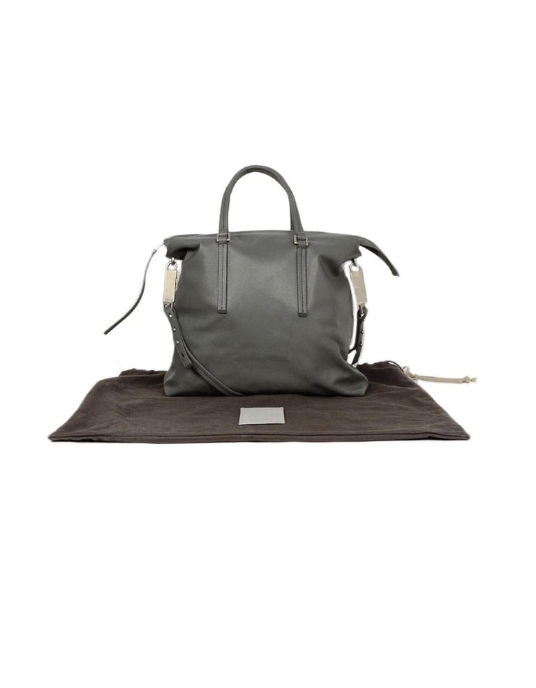 Rick Owens Walrus Grey Leather Tote Bag rt $1,495 For Sale 7