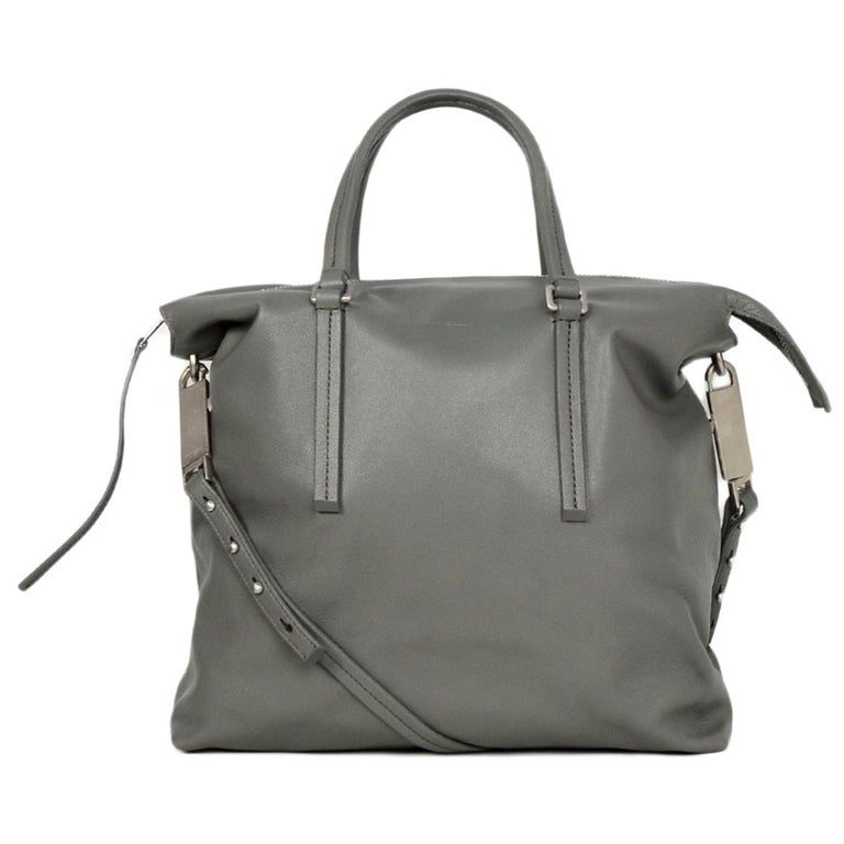 Rick Owens Walrus Grey Leather Tote Bag rt $1,495 For Sale