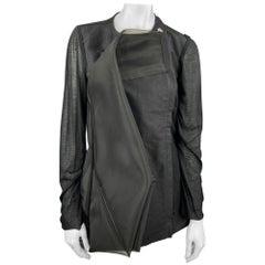 RICK OWENS WALRUS S/S 17 Size 6 Black Mixed Fabrics Silk Giacca Heron Jacket
