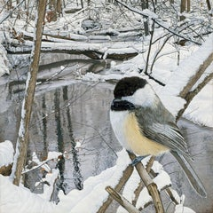 Chickadee at Hasler Creek - Photorealistic Painting of Bird in a Winter Scene
