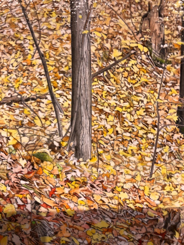 October Woods - Highly Detailed Painting of Deer in Leaf Blanketed Forest 7