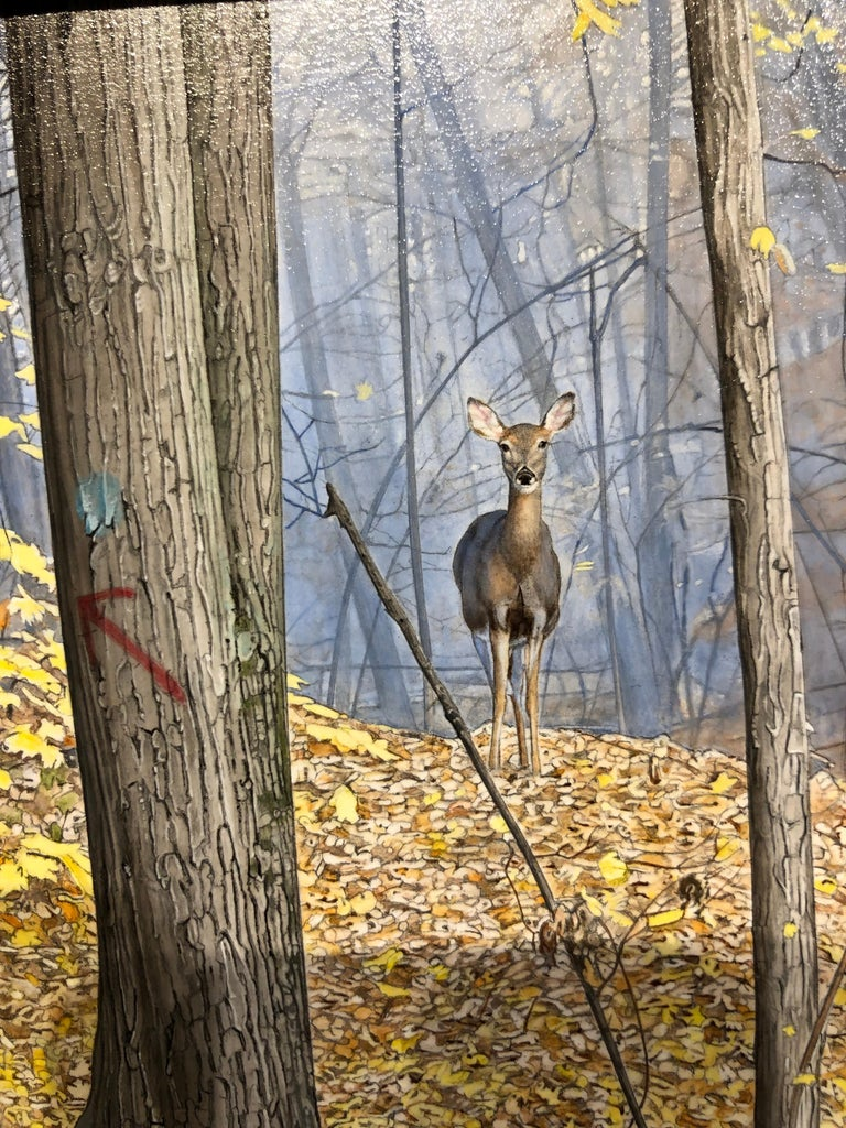 October Woods - Highly Detailed Painting of Deer in Leaf Blanketed Forest 4