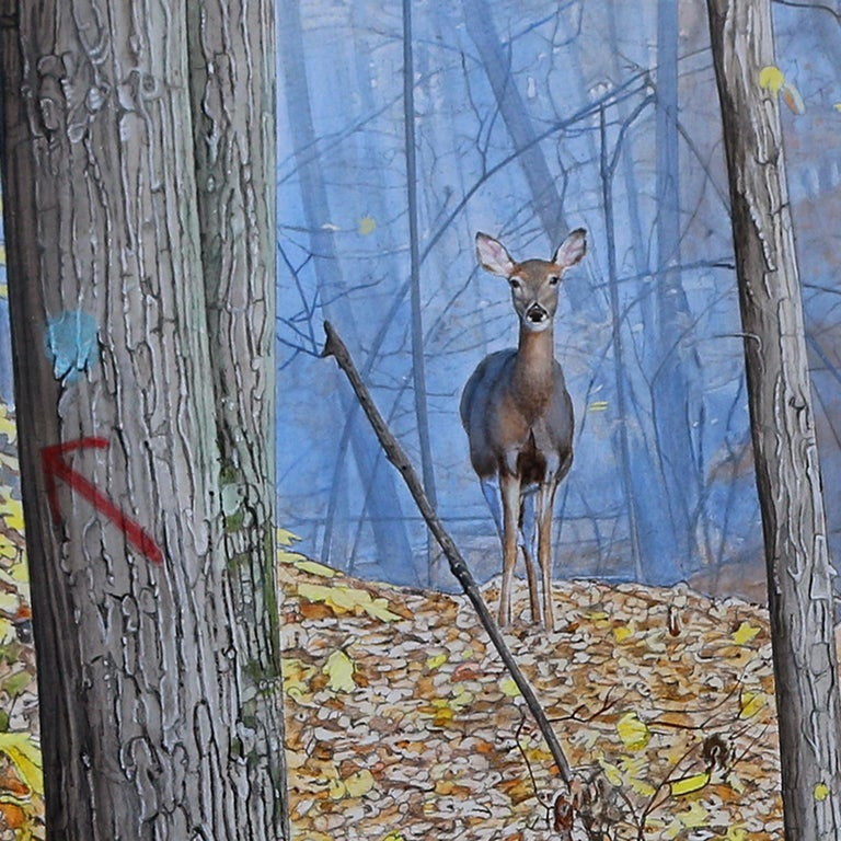 October Woods - Highly Detailed Painting of Deer in Leaf Blanketed Forest - Gray Landscape Painting by Rick Pas
