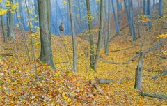 October Woods - Highly Detailed Painting of Deer in Leaf Blanketed Forest