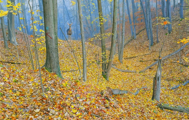 Rick Pas Landscape Painting - October Woods - Highly Detailed Painting of Deer in Leaf Blanketed Forest