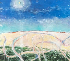 Above the Beach No 5 - blue, green, abstract landscape, acrylic on canvas