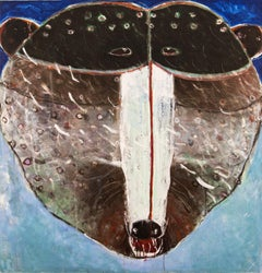 Rain Face Grizzly - brown, blue, animal, indigenous figurative acrylic on canvas