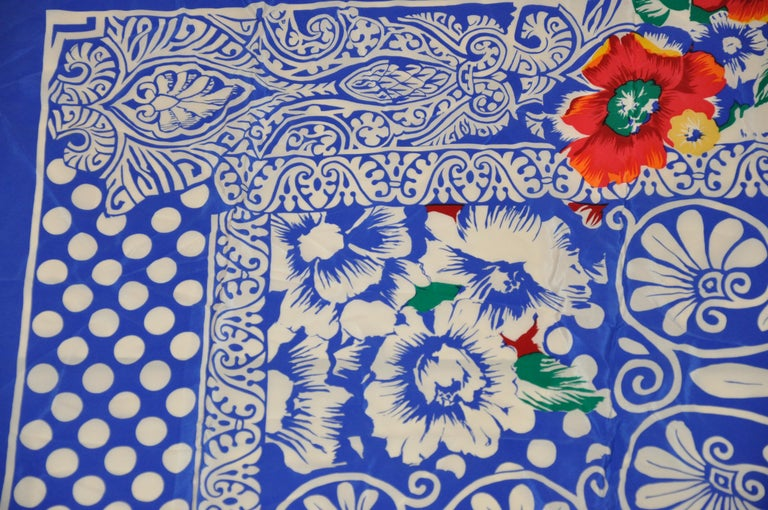 Rickie Freeman For Teri Jon Huge Bold Lapis Blue & White with Floral Silk Scarf In Fair Condition For Sale In New York, NY