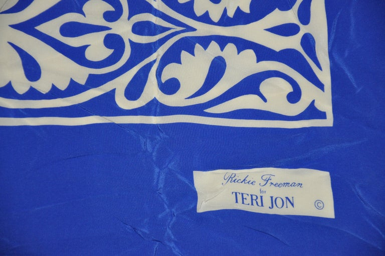 Rickie Freeman For Teri Jon Huge Bold Lapis Blue & White with Floral Silk Scarf For Sale 2