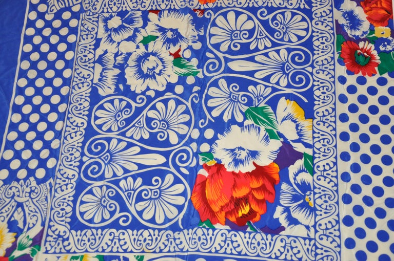 Rickie Freeman For Teri Jon Huge Bold Lapis Blue & White with Floral Silk Scarf For Sale 3