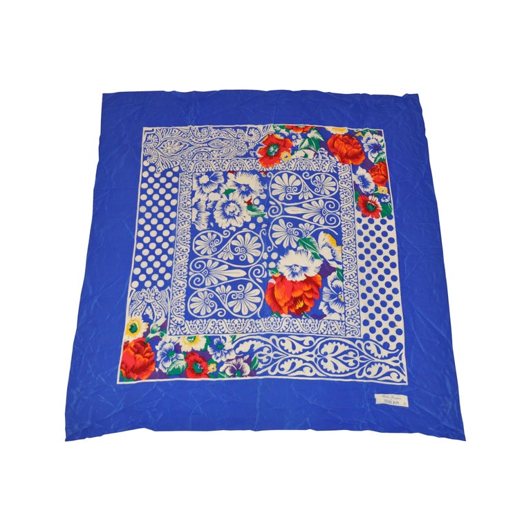 Rickie Freeman For Teri Jon Huge Bold Lapis Blue & White with Floral Silk Scarf For Sale