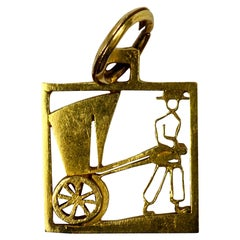 Rickshaw 18 Karat Yellow Gold Square Charm Pendant