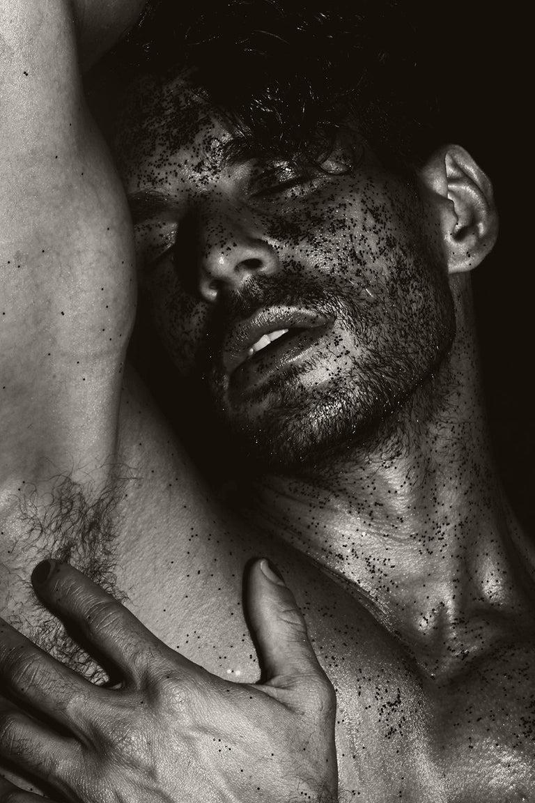 Ricky Cohete Color Photograph - Men with Black Sand. Sepia Archival pigment print, Medium