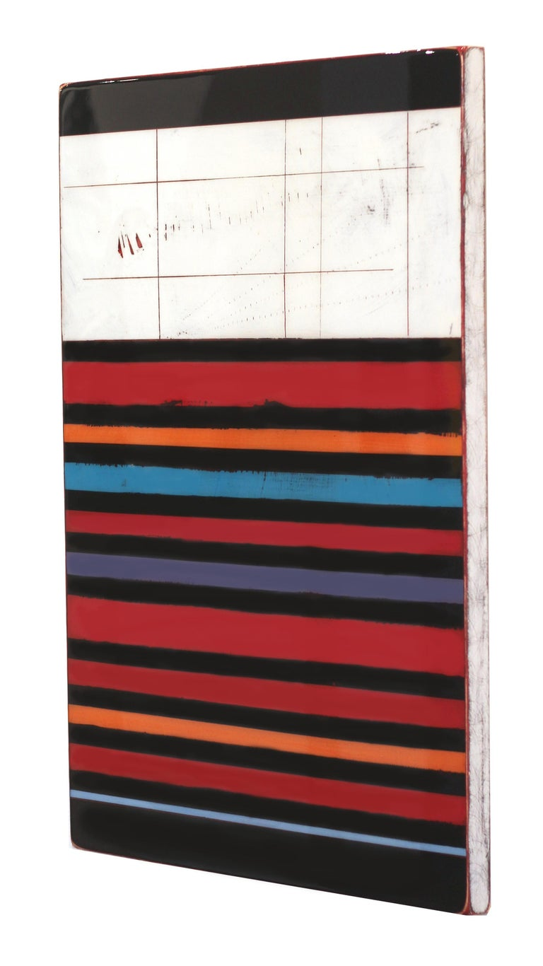 Ricky Hunt's mixed media minimalism work is influenced by his tumultuous past that led to a paradigm shift in creativity and life. He covers the wood panel with layers of acrylic paint, removing some layers in the process to reveal the underlying