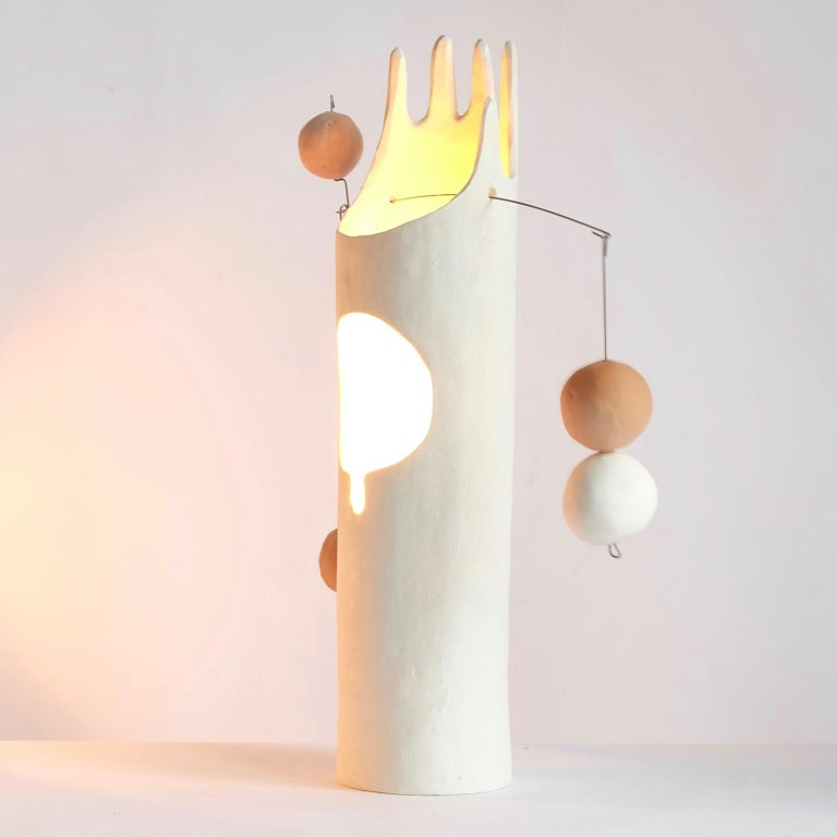 American Rico, Contemporary Sculptural Hand-Built Ceramic Table Lamp in Matte White For Sale