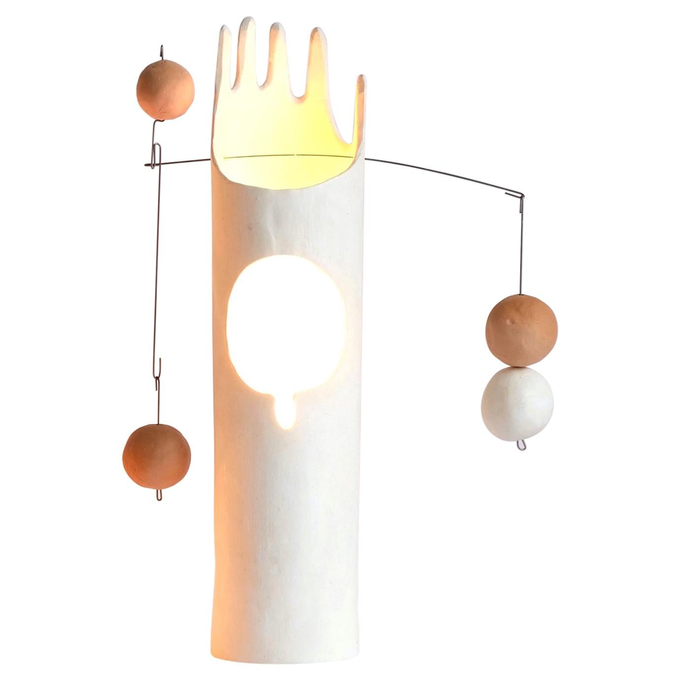 Rico, Contemporary Sculptural Hand-Built Ceramic Table Lamp in Matte White