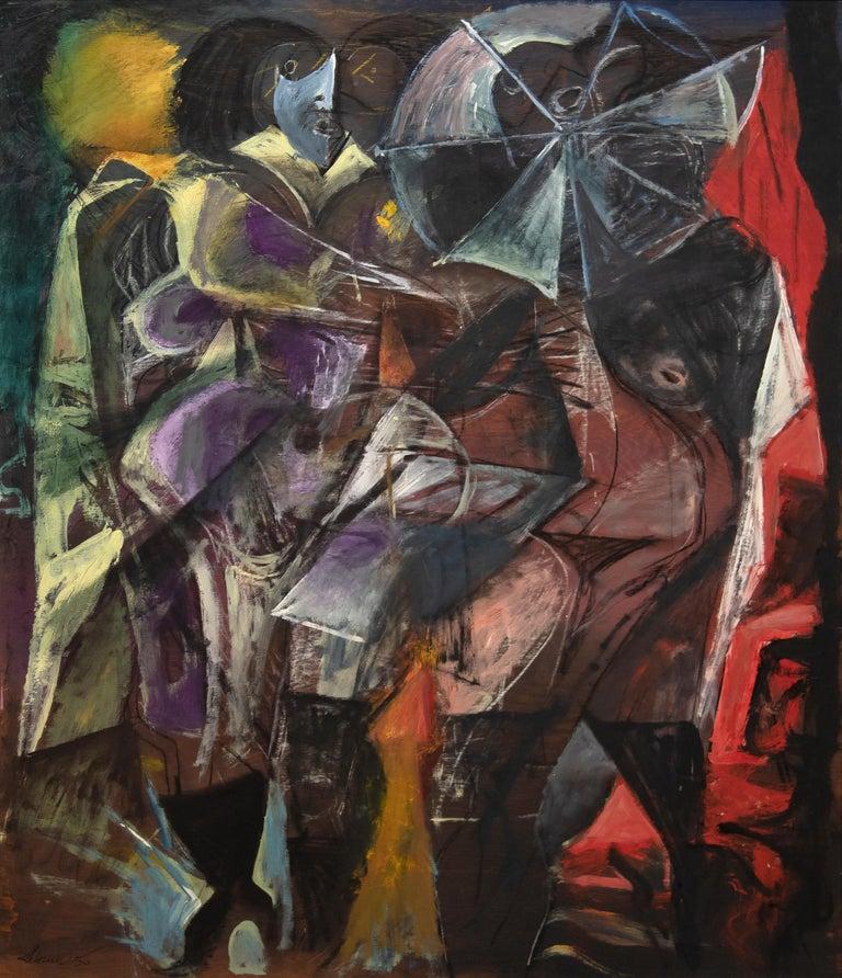 Rico Lebrun Figurative Painting - Woman in the Rain