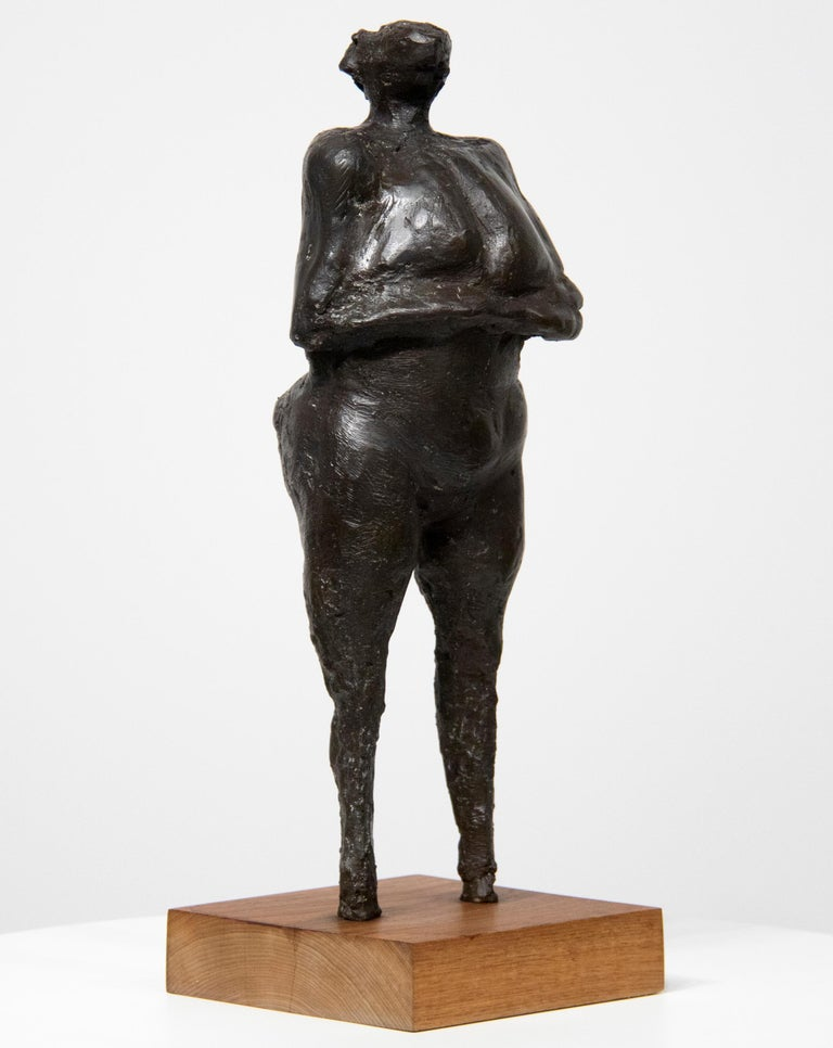 Woman with Arms Under Breasts - Sculpture by Rico Lebrun