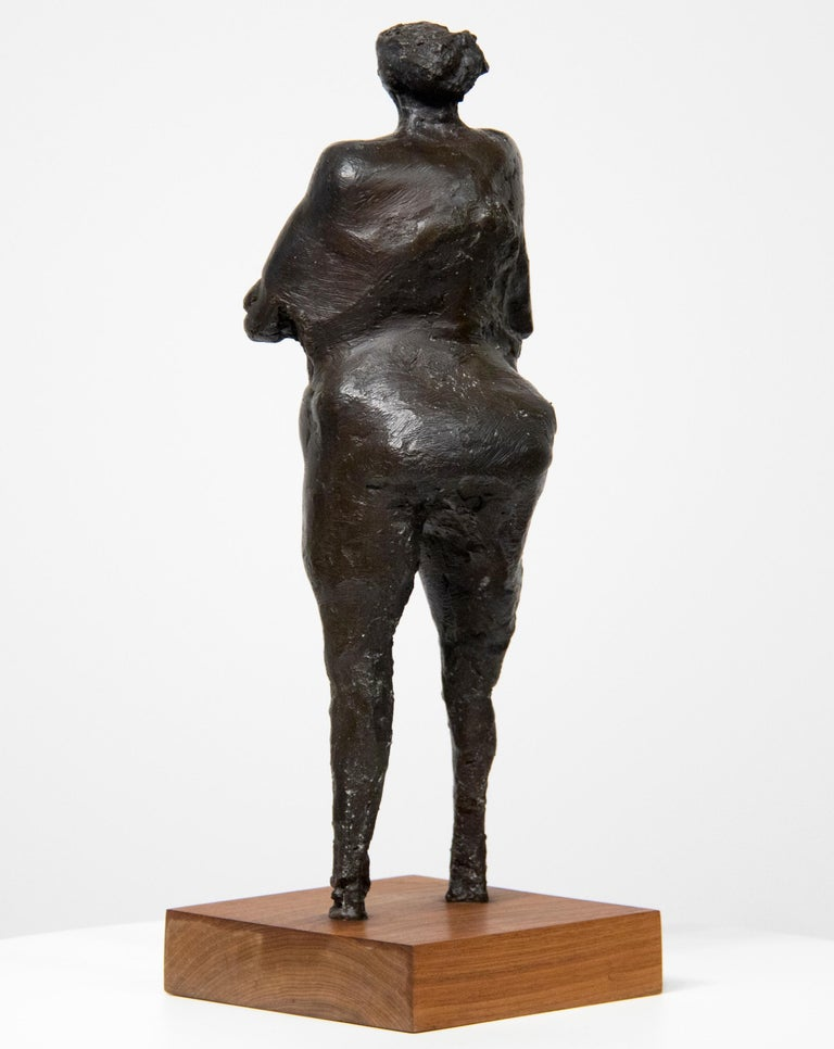 Woman with Arms Under Breasts - Gold Nude Sculpture by Rico Lebrun