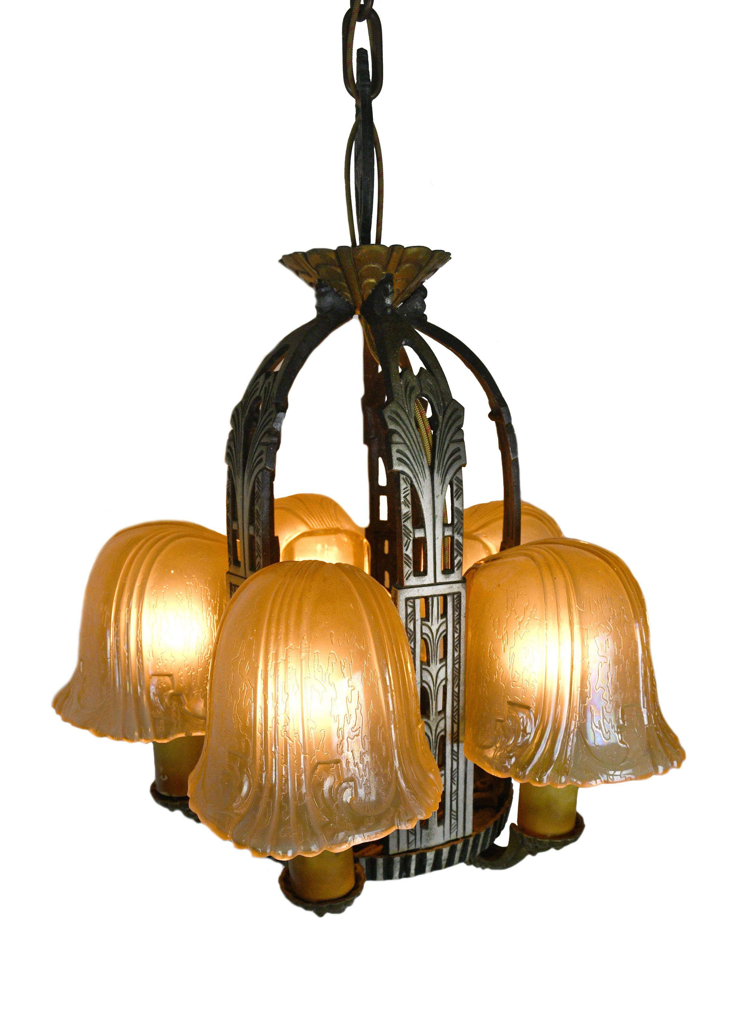 ART DECO 5 SLIP MILK GLASS SHADE HANGING CHANDELIER CEILING LIGHT 1920's 1930's