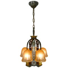 Riddle Art Deco 5 Candle Slip Shade Chandelier