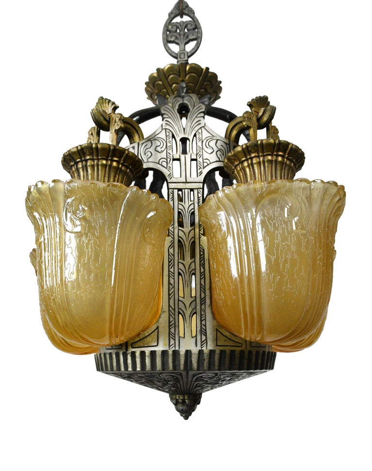 Riddle Art Deco 5-Light Slip Shade Chandelier In Good Condition For Sale In Minneapolis, MN