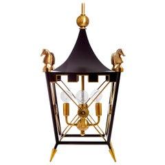 Rider Brass Pagoda Pendant Light in Black