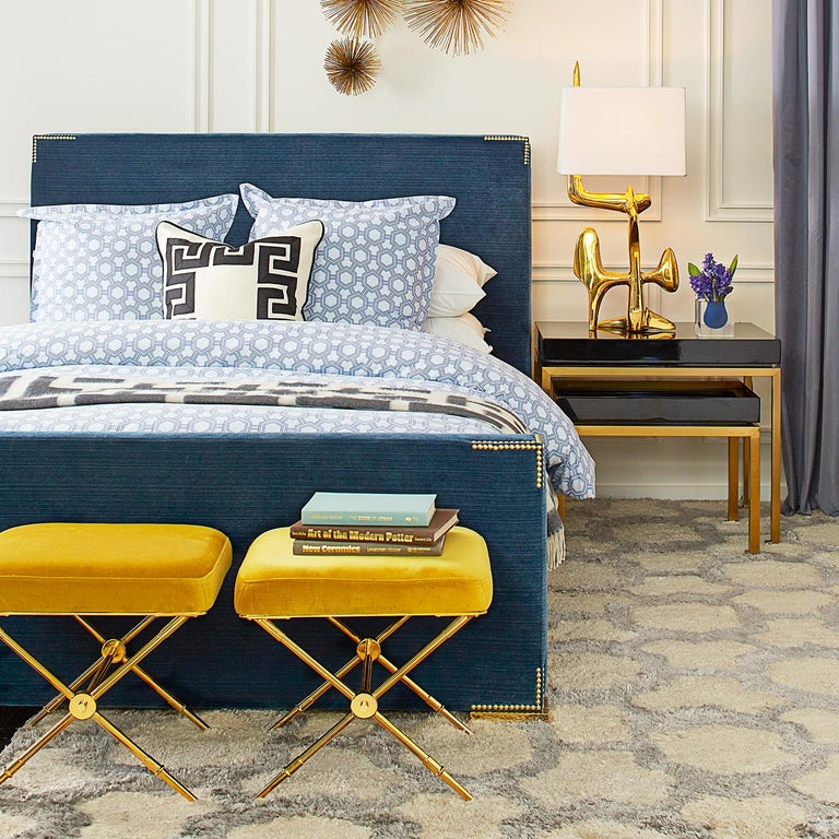 Rider Gold Velvet and Brass Bench In New Condition For Sale In New York, NY