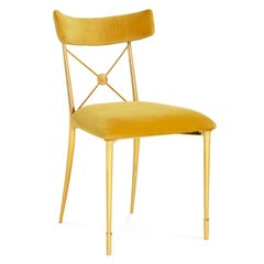 Rider Gold Velvet and Brass Dining Chair