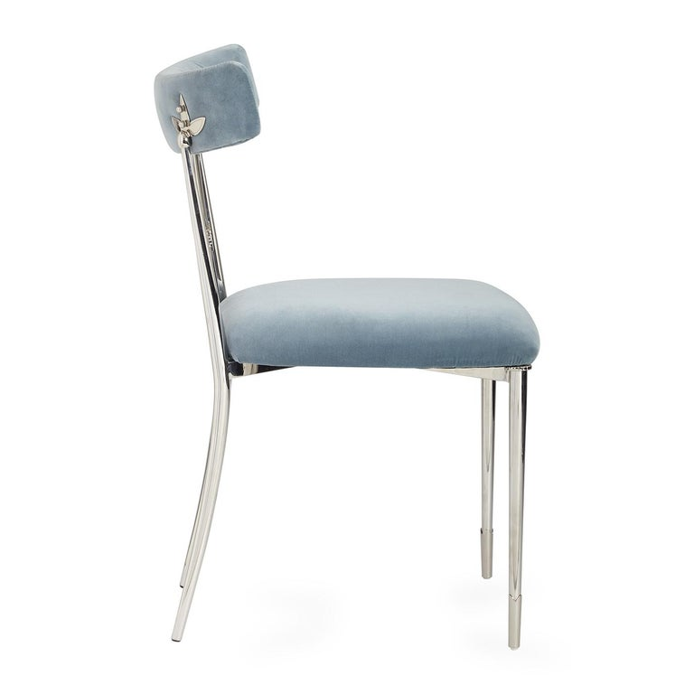 Empire Rider Sky Velvet and Nickel Dining Chair For Sale