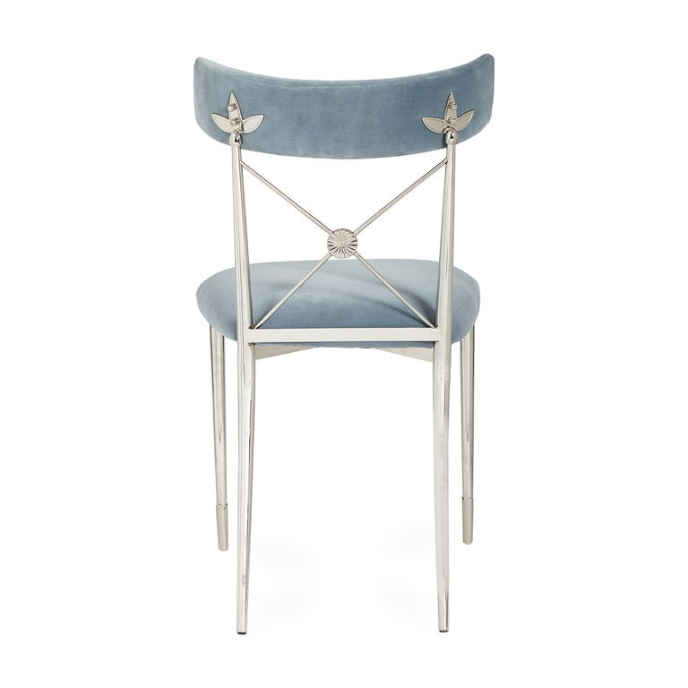 American Rider Sky Velvet and Nickel Dining Chair For Sale