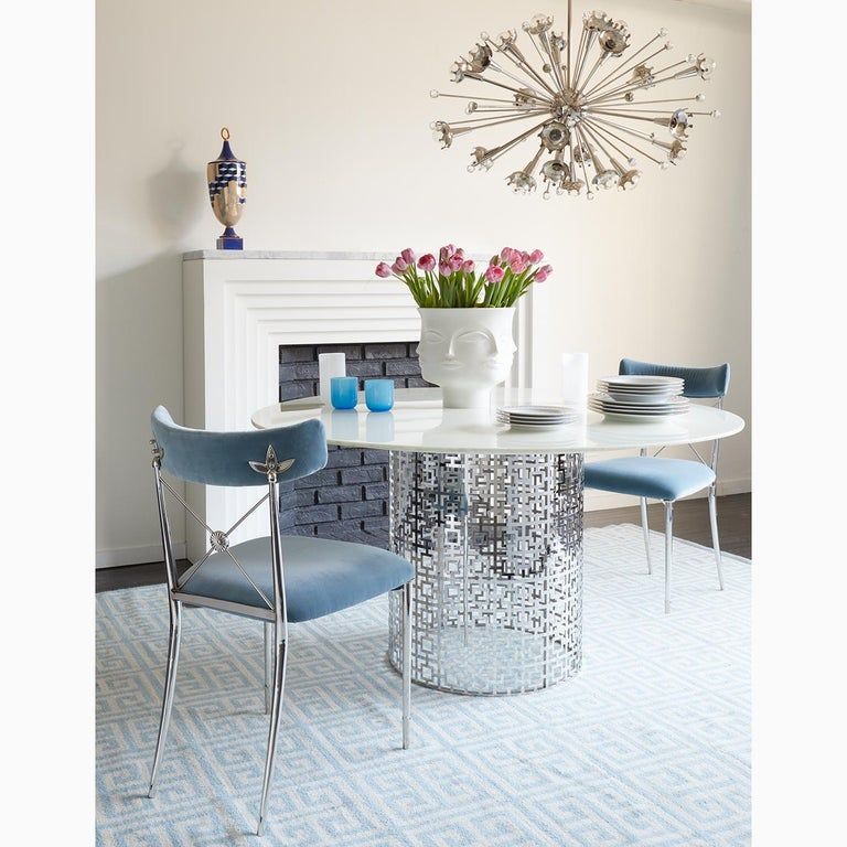 Contemporary Rider Sky Velvet and Nickel Dining Chair For Sale