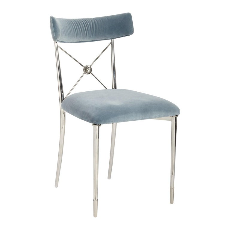 Rider Sky Velvet and Nickel Dining Chair For Sale