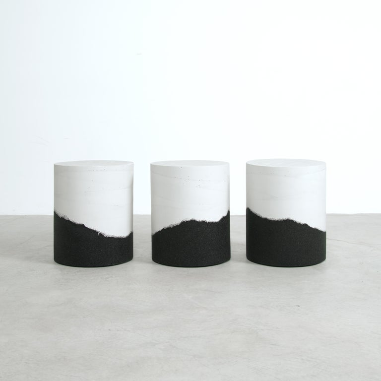Ridge Drum, White Cement and Black Silica by Fernando Mastrangelo In New Condition For Sale In Brooklyn, NY