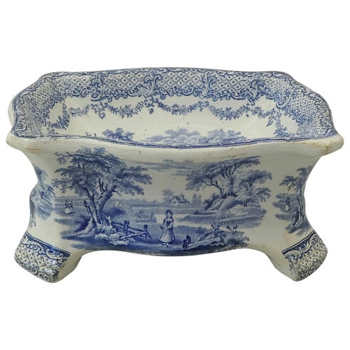 Ridgway Blue and White Printed Dog Bowl, circa 1840