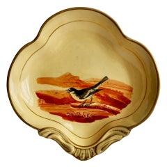 Ridgway Drabware Shell Dish with Bird After Bewick, Beige, Ochre, Regency 1808