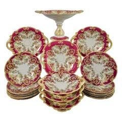 Ridgway Earthenware Dessert Service, Fuchsia Pink, Floral Festoons, ca 1870