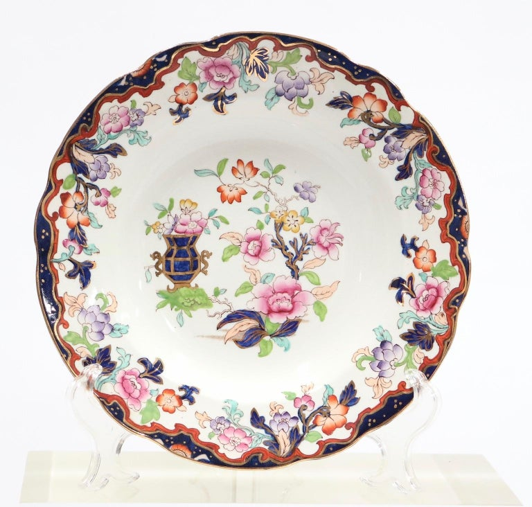 English Ironstone chinoiserie style set of six Ridgway plates with Simlay pattern with blue urn and gold trim in a scalloped shape. The set dates from the late 18th century and is in great antique condition.
