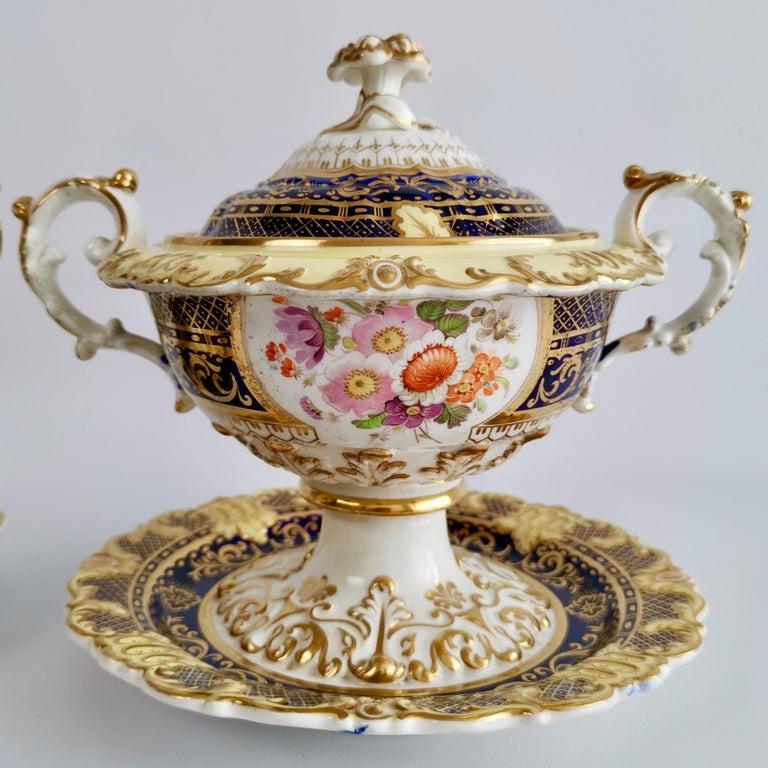 Ridgway Full Dessert Service, Cobalt Blue, Gilt and Flowers, Regency, circa 1825 For Sale 5