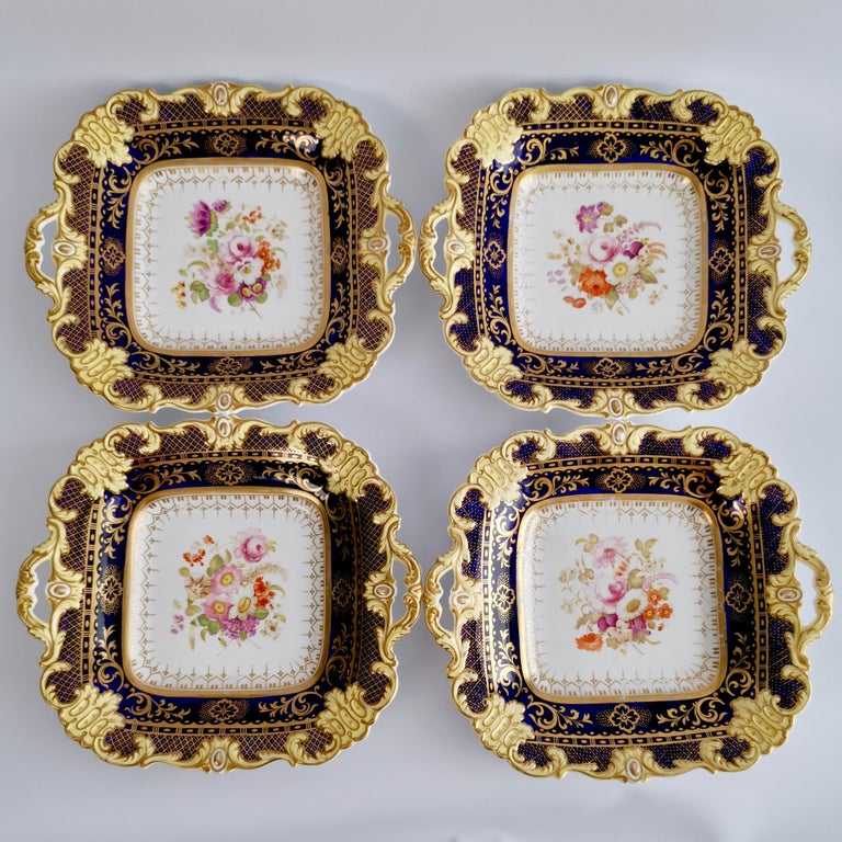 Ridgway Full Dessert Service, Cobalt Blue, Gilt and Flowers, Regency, circa 1825 For Sale 7