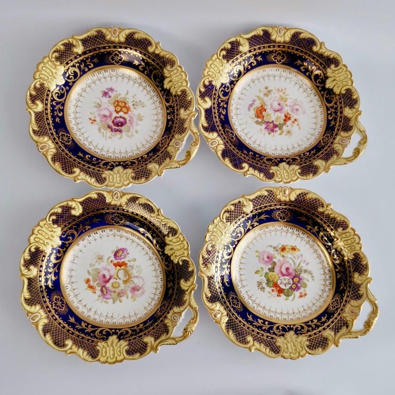 Ridgway Full Dessert Service, Cobalt Blue, Gilt and Flowers, Regency, circa 1825 For Sale 8