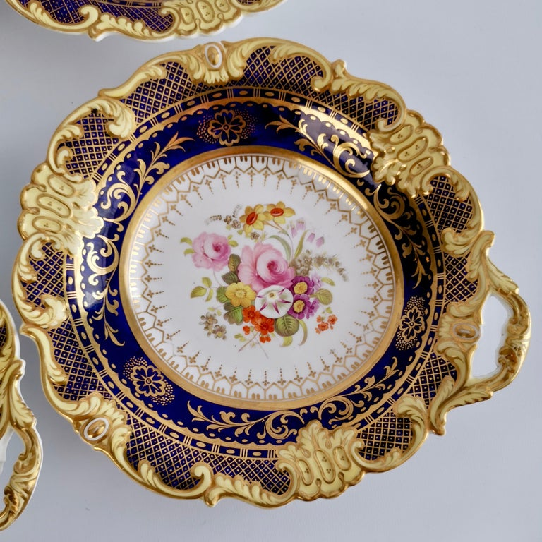 Ridgway Full Dessert Service, Cobalt Blue, Gilt and Flowers, Regency, circa 1825 For Sale 9